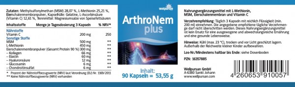ArthroNem plus mit MSM, L-Methionin und Eierschalenmembran-Pulver